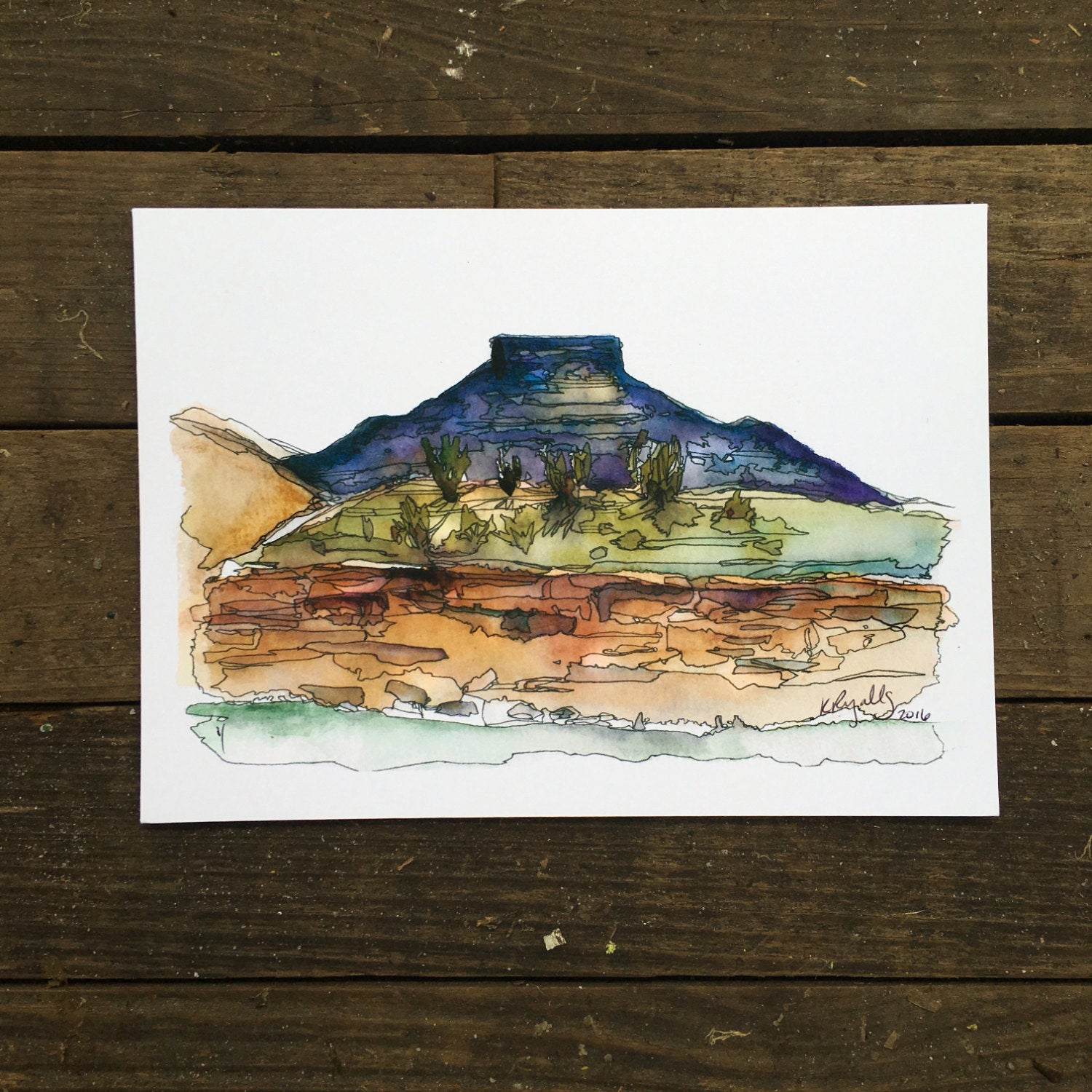pedernal Abiquiu, new mexico watercolor National Park art print  Kat Ryalls landscape desert painting