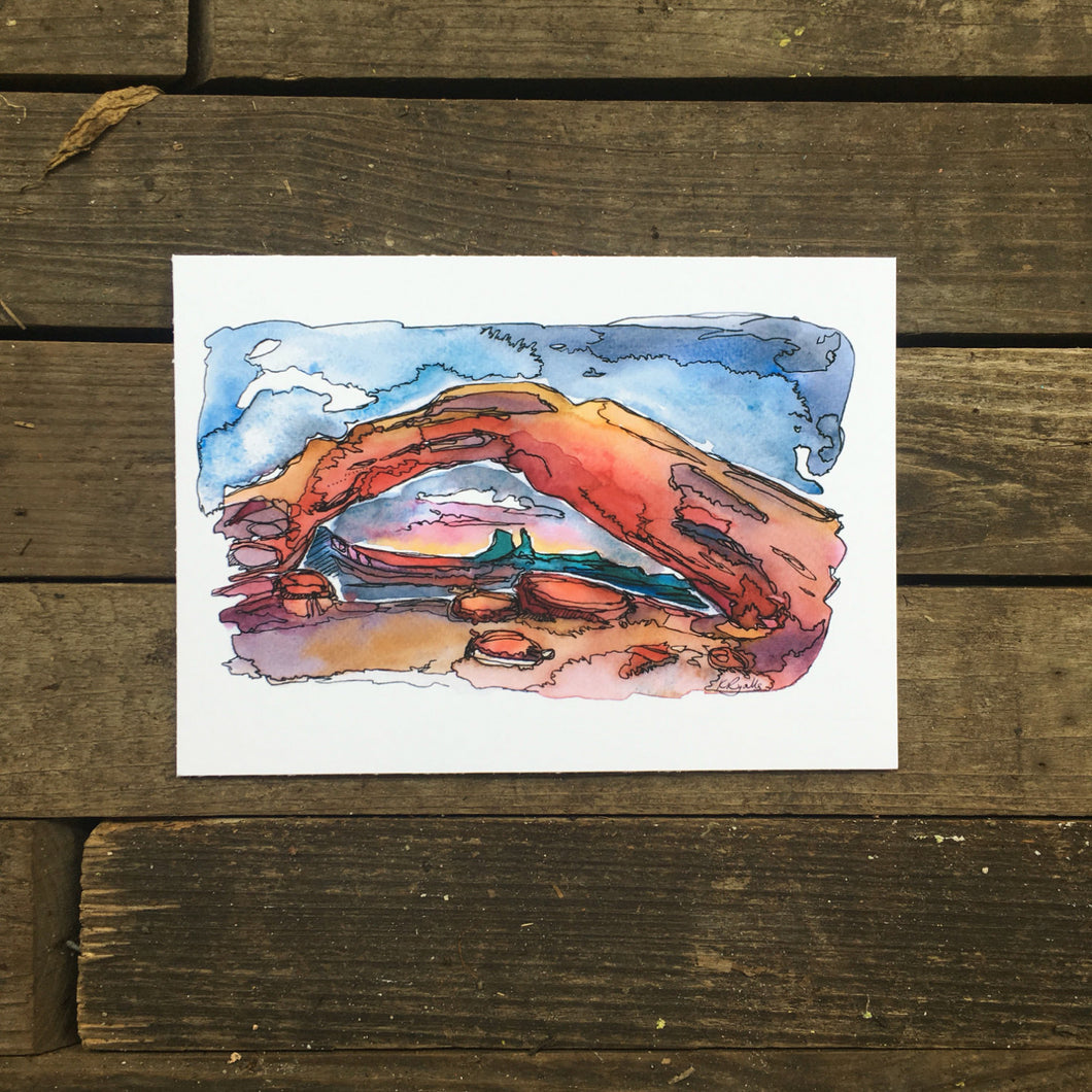 Mesa Arch sunrise Utah watercolor giclee 5x7