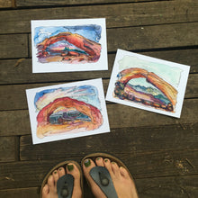 "Load image into Gallery viewer, Mesa Arch sunrise cloud Utah watercolor giclee 5x7"" kat ryalls 2015"
