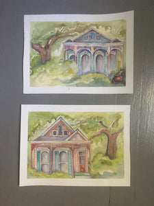 Teal new orleans house, From Ursulines With Love, original watercolor, kat ryalls, 9x13""