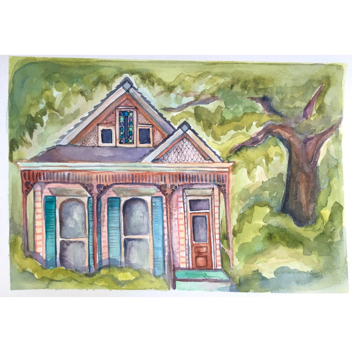 Pink new orleans house, From Uptown With Love, original watercolor, kat ryalls, 9x13