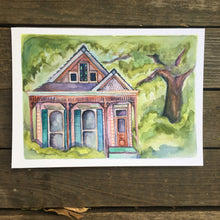 Load image into Gallery viewer, Pink New Orleans House,  watercolor fine art print Kat Ryalls NOLA home, house art painting