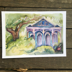 Teal New Orleans House,  watercolor fine art print kat ryalls NOLA neighborhood watercolor painting