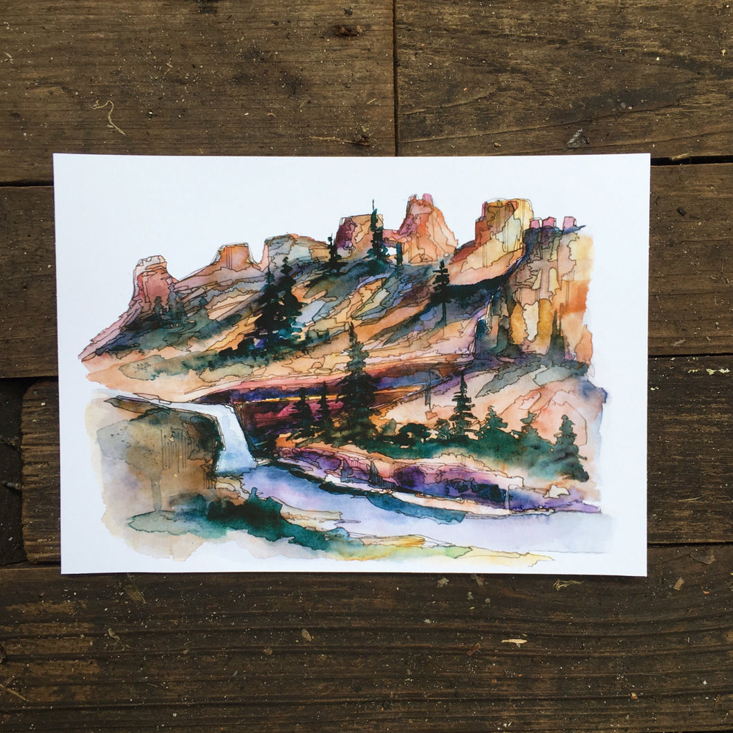Bryce Canyon National Park Utah  waterfall painting watercolor print 8x10