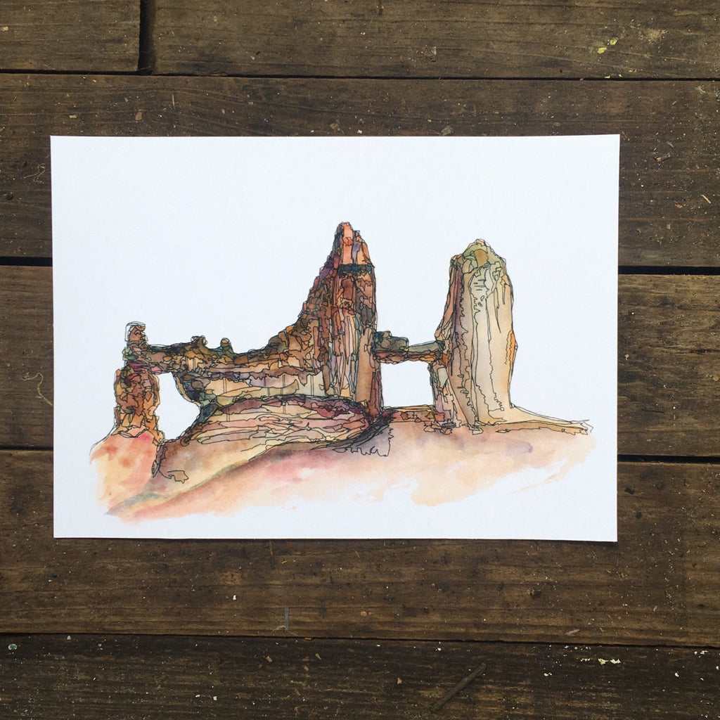 "Bryce Canyon  Utah watercolor National Park giclee 5x7"" kat ryalls"
