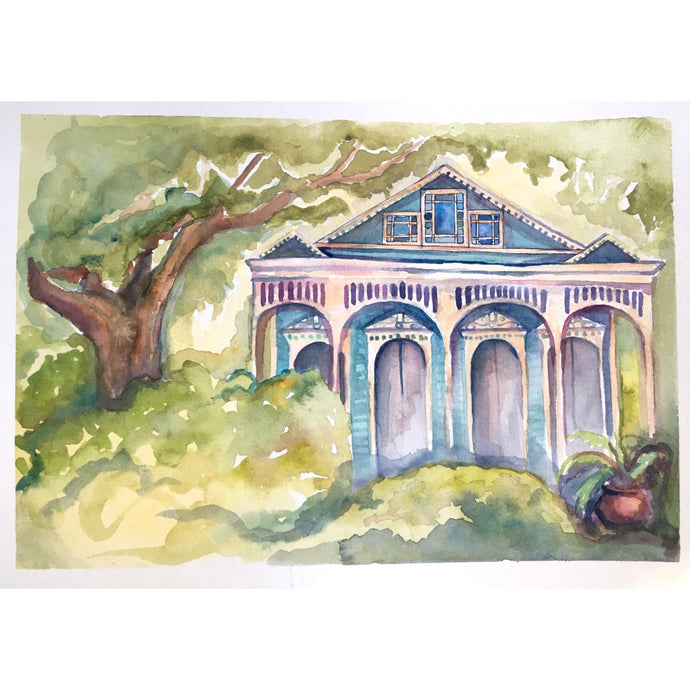 Teal new orleans house, From Ursulines With Love, original watercolor, kat ryalls, 9x13