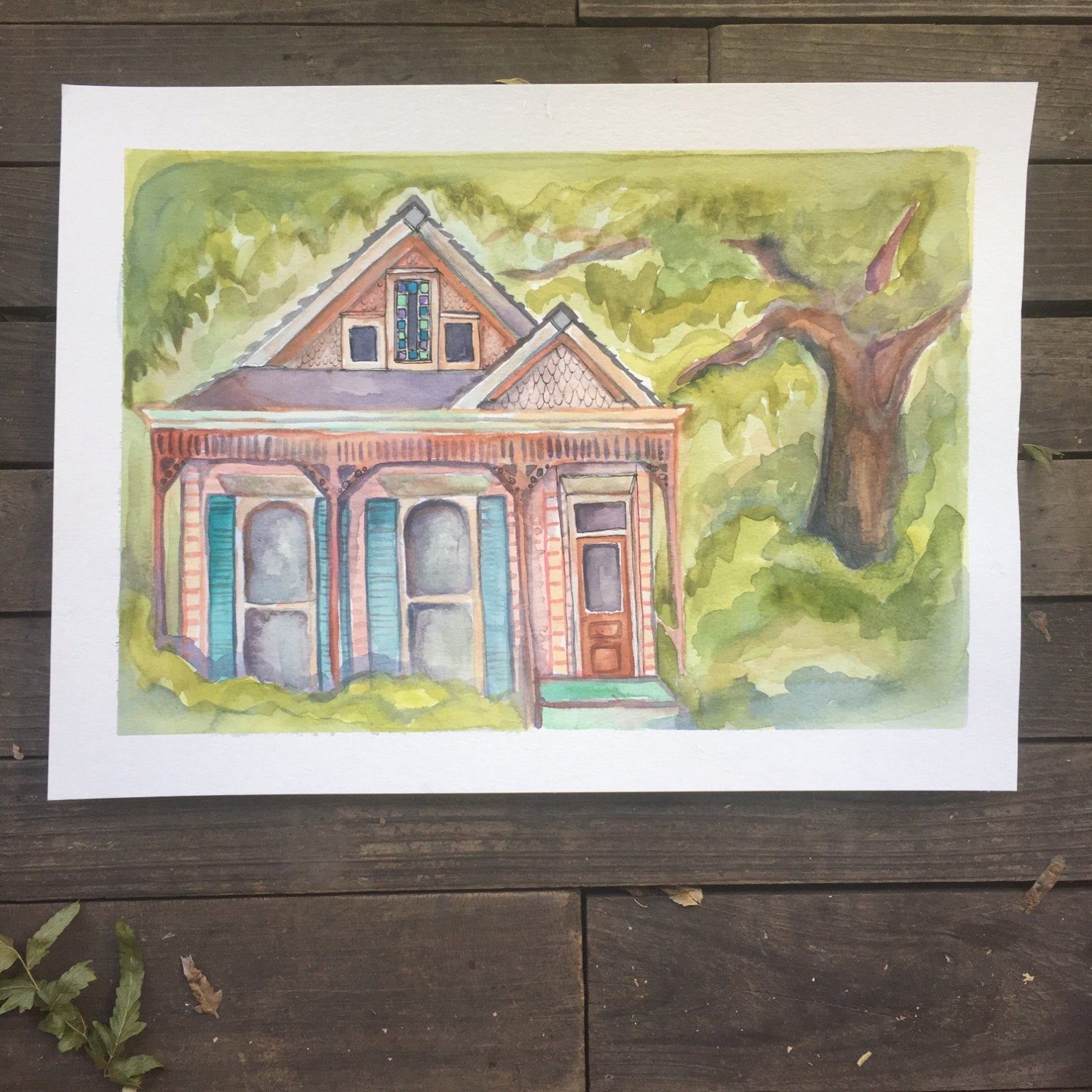 Pink new orleans house, From Uptown With Love, original watercolor, kat ryalls, 9x13""