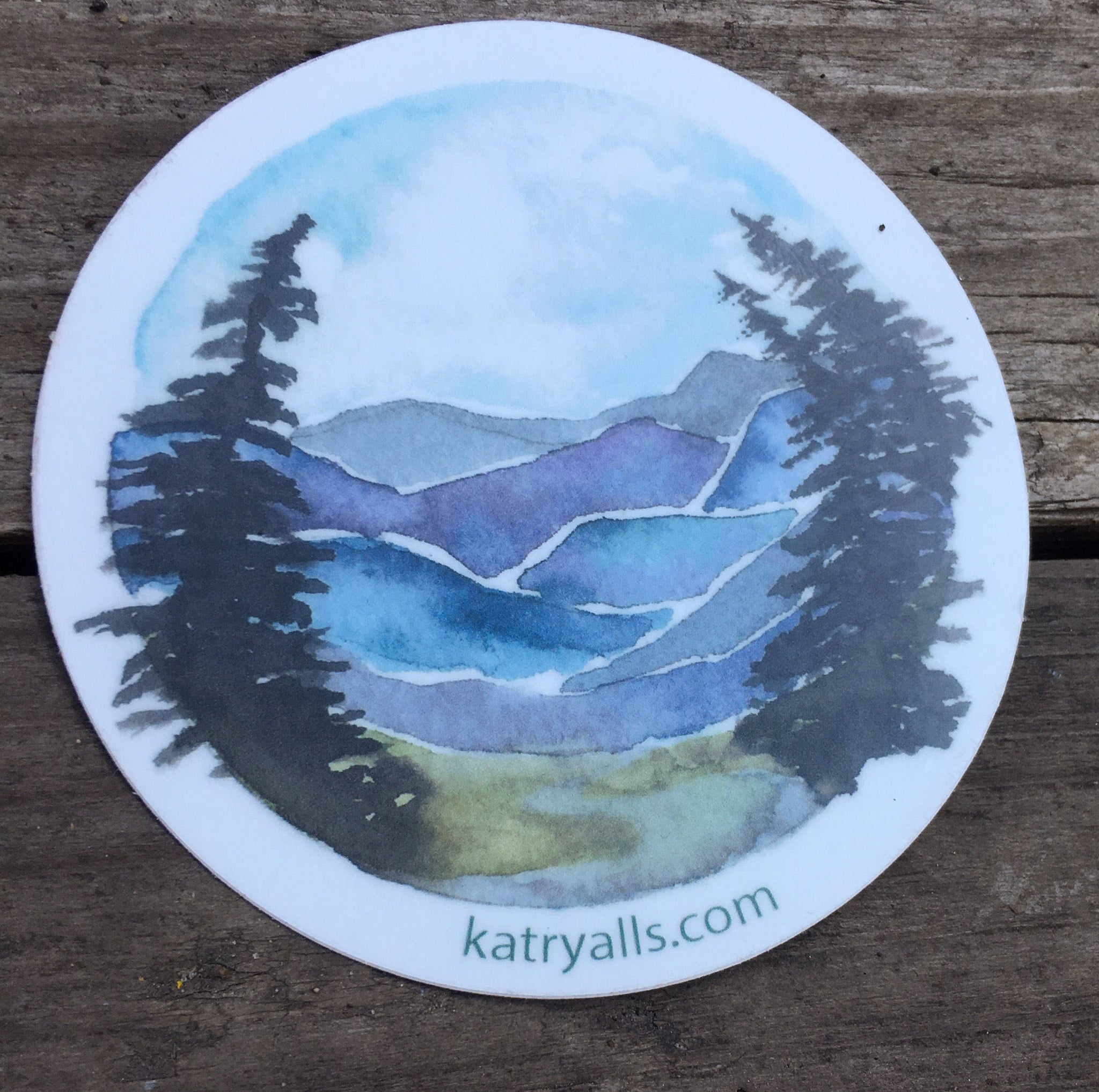 "Blueridge Mountain Vinyl Sticker  3"" circle by Kat Ryalls watercolor national parks"