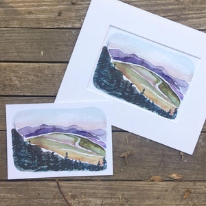 "Blue Mountains, Denali watercolor National Park fine art print  5x7"" kat ryalls 2017"