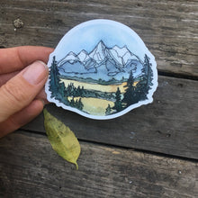 "Load image into Gallery viewer, Grand Teton National Park Vinyl Sticker  3"" circle by Kat Ryalls  watercolor Wyoming Travel Journey Decal"