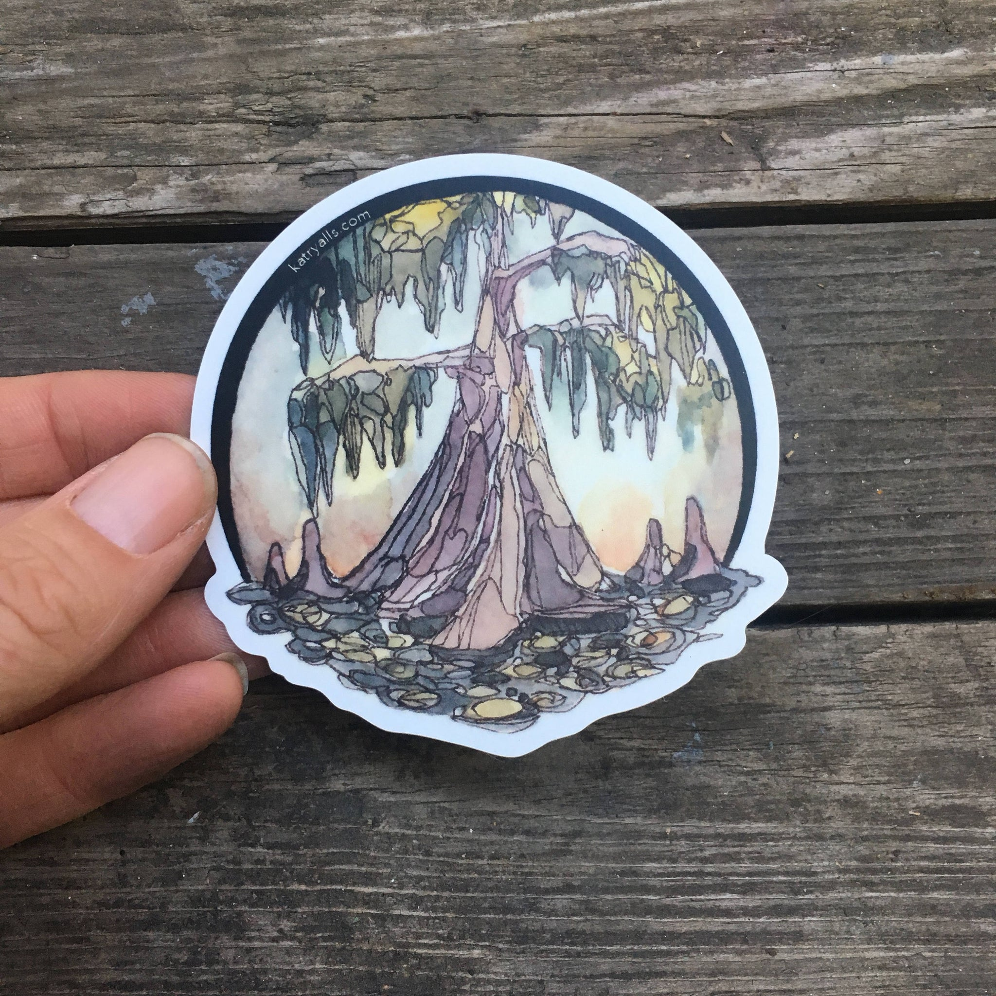"Journey Travel Louisiana Cypress Swamp Vinyl Sticker  3"" circle by Kat Ryalls Watercolor New Orleans"