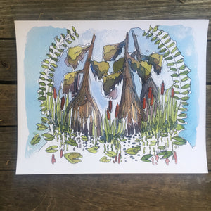 Summer Solstice in the Swamp watercolor fine art print