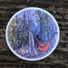 "Load image into Gallery viewer, Hammock Vinyl Sticker Camping National Parks  3"" circle by Kat Ryalls outdoor nature watercolor"