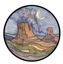 "Load image into Gallery viewer, Desert Arizona Vinyl Sticker Decal 3"" Watercolor National Parks by Kat Ryalls camping travel night sky"