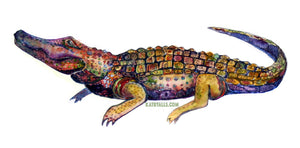 "Alligator Vinyl Sticker  4"" by Kat Ryalls louisiana new orleans watercolor"