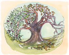 Load image into Gallery viewer, Seasons Tree watercolor painting fine art print, home decor