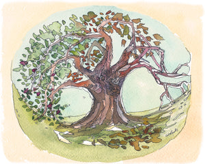 Seasons Tree watercolor painting fine art print, home decor