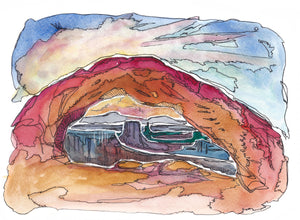 "Mesa Arch sunrise cloud Utah watercolor giclee 5x7"" kat ryalls 2015"