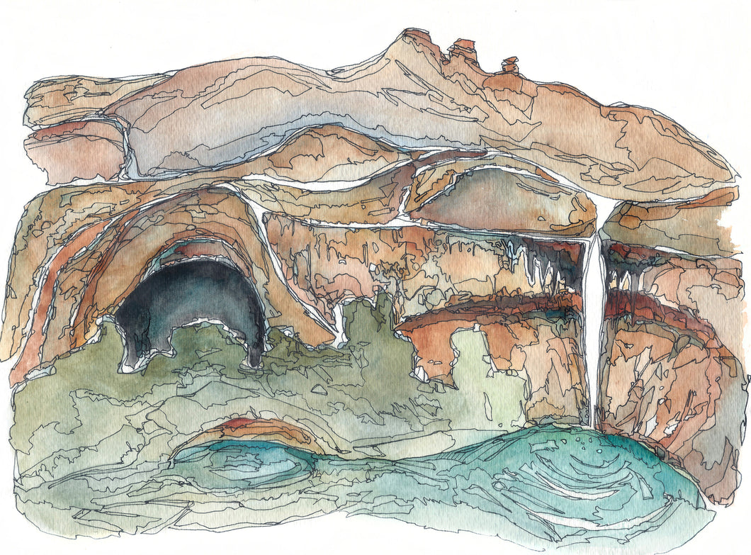 Calf Creek  Utah watercolor National Park giclee 5x7