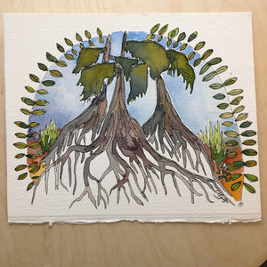 Roots od Life original watercolor kat ryalls New Orleans tree of life bayou