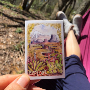 "Explore sticker american landscapes 2x3""  by Kat Ryalls outdoor nature watercolor national parks"