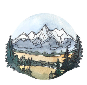 "Grand Teton National Park Vinyl Sticker  3"" circle by Kat Ryalls  watercolor Wyoming Travel Journey Decal"