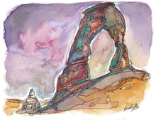 "Load image into Gallery viewer, Delicate Arch sunrise, Utah watercolor giclee 5x7"" kat ryalls 2015"