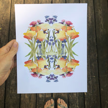 Load image into Gallery viewer, Spring Wildflower Floral Mandala Watercolor Print Flowers