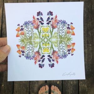 Spring Burst Wildflower Floral Mandala Watercolor Digital Print