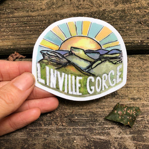 "Journey travel Linville Gorge Wilderness Sticker  3""  by Kat Ryalls watercolor North Carolina blue ridge mountains"