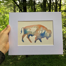 Load image into Gallery viewer, bison profile watercolor ORIGINAL kat ryalls 2018 buffalo 3 variations