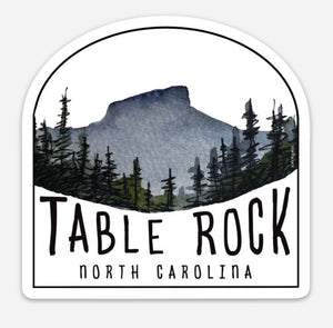 "Linville Gorge Wilderness Sticker  Table Rock 3.4""  by Kat Ryalls watercolor North Carolina blue ridge mountains journey travel"