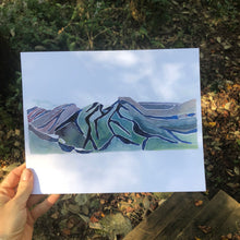 Load image into Gallery viewer, Linville Gorge Hawksbill Table Rock NC Blue Ridge mountains watercolor fine art print 2018 by kat ryalls