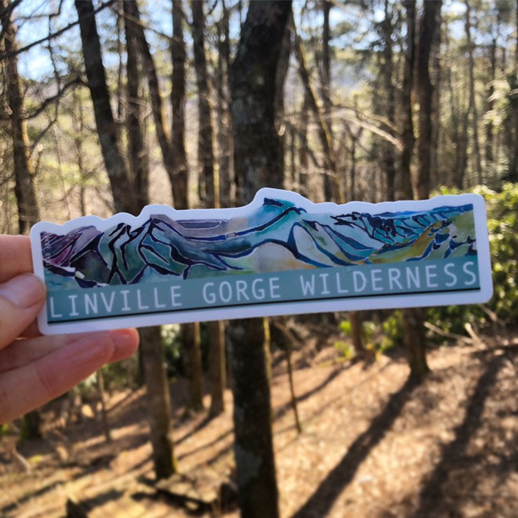 "Linville Gorge Wilderness Blueridge Mountain Vinyl Sticker  6"" by Kat Ryalls 2018 watercolor"