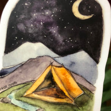 Load image into Gallery viewer, Adventure Vinyl Decal Travel Camping Tent moon  Sticker watercolor national parks