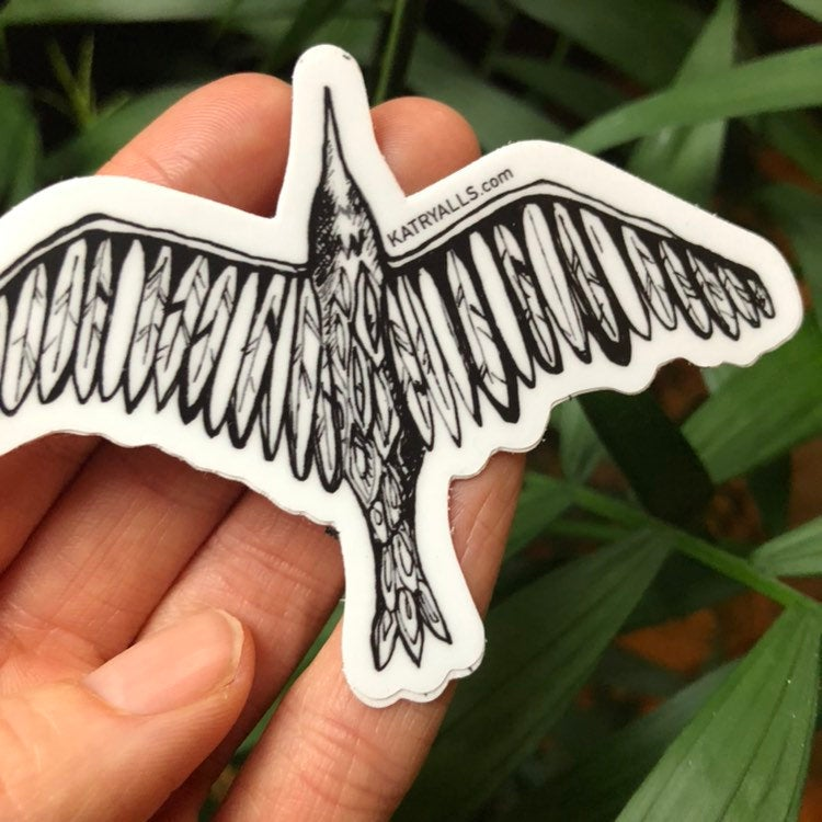 Bird in Flight Vinyl Sticker Raven  by Kat Ryalls ink decal