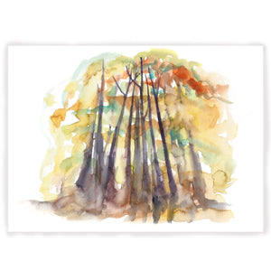 Fall Trees, North Carolina Landscape  watercolor Fine Art Print by Kat Ryalls  National Parks