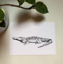 "Load image into Gallery viewer, Alligator Crocodile Ink Drawing Illustration Fine Art Print 5x7"" Kat Ryalls"