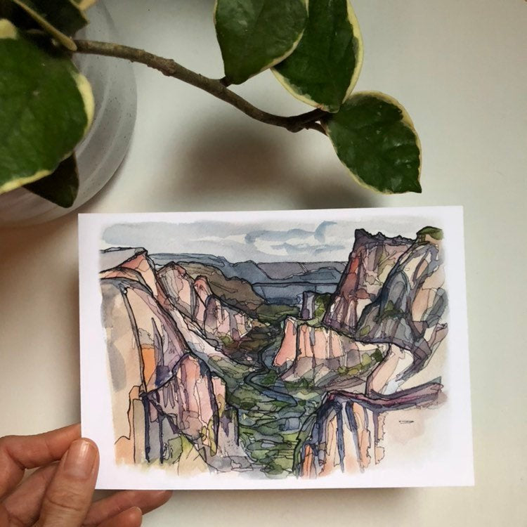 Zion Canyon national park print utah watercolor kat ryalls