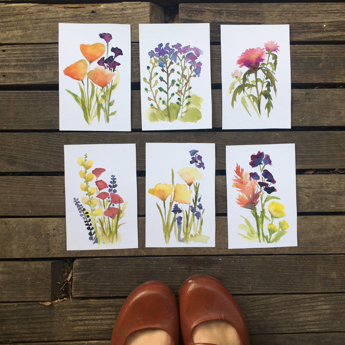 6 Wildflower Watercolor Flower Prints | Botanical Print Set 5x7