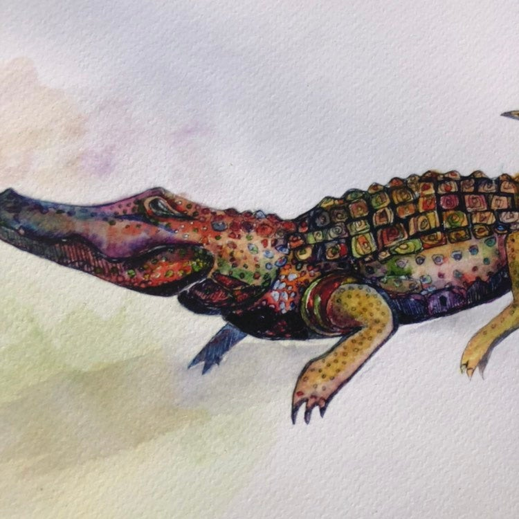 Alligator Print Crocodile Watercolor print on archival fine art paper Kat Ryalls