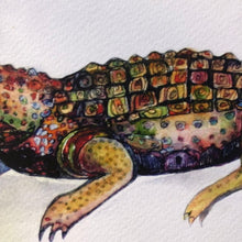 Load image into Gallery viewer, Alligator Print Crocodile Watercolor print on archival fine art paper Kat Ryalls