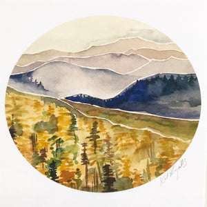 Blue Ridge Mountains North Carolina  watercolor painting National Park Print kat ryalls Roan Mountain