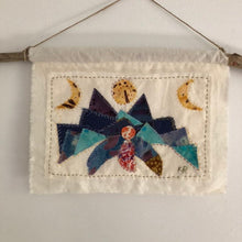 Load image into Gallery viewer, Moon Mother handsewn fabric collage landscape moon phase wall hanging, kat ryalls