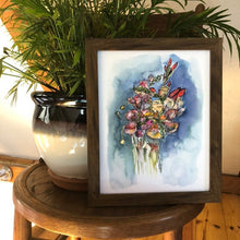 Load image into Gallery viewer, Loose Floral Bouquet Watercolor Art Print Flowers Wildflowers Valentines art print by kat ryalls