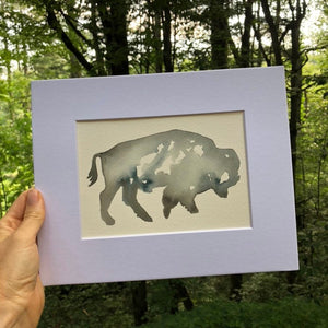bison profile watercolor ORIGINAL kat ryalls 2018 buffalo 3 variations