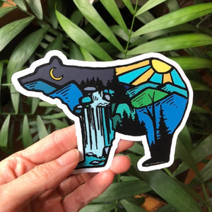 Bear Vinyl Sticker Snowboard Decal Teal Travel Camping Tent  Stickers Kat Ryalls