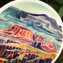 "Load image into Gallery viewer, Canyonlands National Park Utah Viynl Sticker  3"" circle by Kat Ryalls watercolor national parks moab desert"