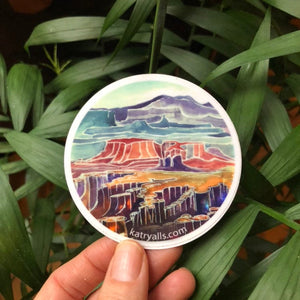 "Canyonlands National Park Utah Viynl Sticker  3"" circle by Kat Ryalls watercolor national parks moab desert"