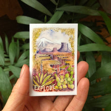 "Load image into Gallery viewer, Explore sticker american landscapes 2x3""  by Kat Ryalls outdoor nature watercolor national parks"
